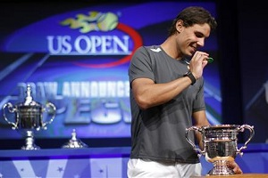 Rafael Nadal takes part in draw ceremony for 2011 U.S. Open Tennis Championship in New York