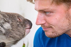 David Goffin of Belgium meets a koala during a promotional event for the Australian Open tennis tournament at Melbourne Park, Melbourne, Australia